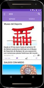 Listado de noticias App ECO Maristas Badajoz