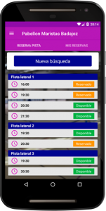 Pantalla Principal App Pabellón Marista Badajoz