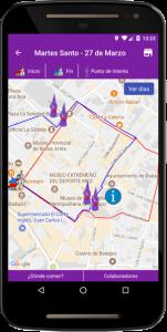 Mapa recorrido App Semana Santa Badajoz